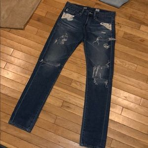 AG Adriano Goldshmied distressed slim jeans pants